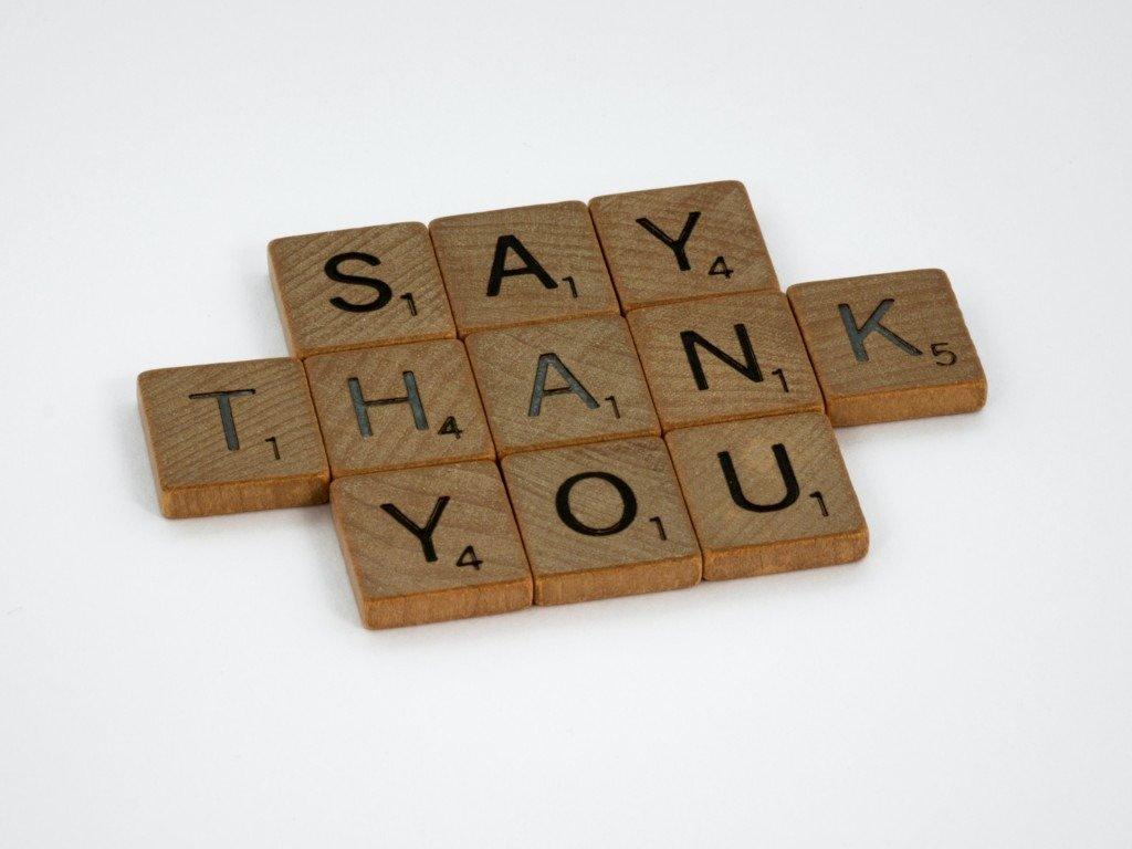 remerciement note
